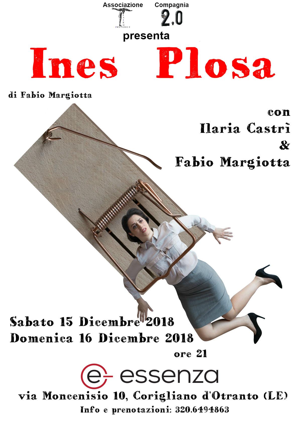 sabato 15 e domenica 16 dicembre Essenza e- ospita INES PLOSA di Fabio Margiotta